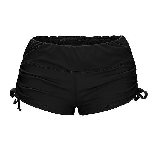 OUO Badeshorts Damen Bikinihose Schwarz Shorts mit Blumen Taillenbund Schwimmshorts UV Schutz Hose