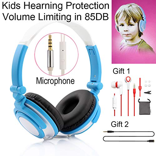 Daioolor 2018 P01 Blue Adjust Size on Ear Kids Headphones with Microphones for Children Hearing Protection