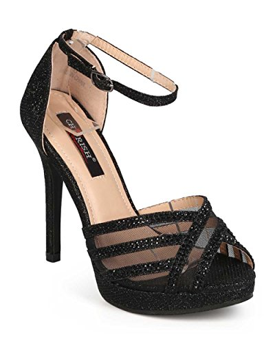 Cherish Ec39 Donna Glitter Sandaletto A Punta Aperta Criss Cross Tacco A Spillo - Nero