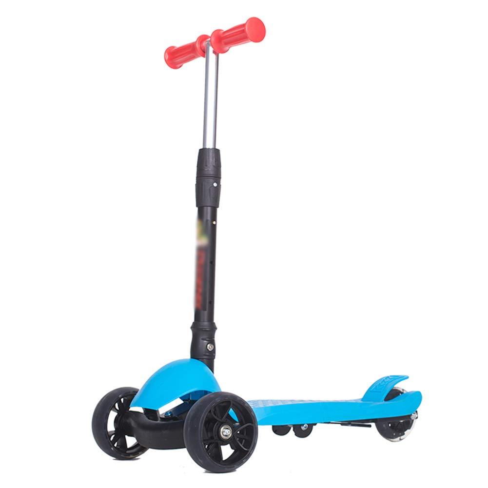 大特価 キックスクーター三輪車スケートボードペダル式乗用スタントスクーター折りたたみTバーハンドルLEDライトアップホイール付き調節可能な B07H9B22K2 青 B07H9B22K2 青, Prossimo:0c1597cb --- a0267596.xsph.ru