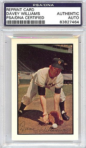 Davey Williams Signed 1953 Bowman Reprint Trading Card #1 New York Giants - Certified Genuine Autograph By PSA/DNA - Autographed Baseball Card from ItsAlreadySigned4U