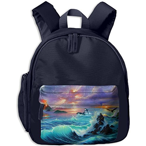 Volcano And Dolphin Boys Girls Neutral Oxford School Backpack Navy (Volcano Oxford)