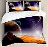 Ambesonne Earth and Cosmos Fantasy Decor Duvet Cover Set Queen Size, Solar Sky Nebula Orbit Comet Horizon System, Decorative 3 Piece Bedding Set with Pillow Shams
