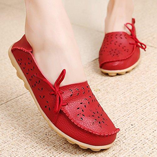 Lucksender Frauen aushöhlen Carving Casual Leder Fahren Flache Loafers Schuhe rot