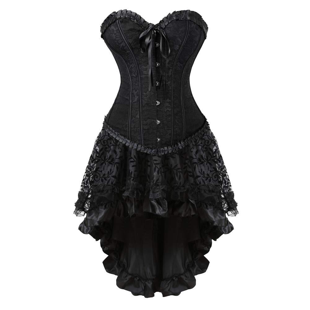 Womens Corset Dress Sexy Lace Up Boned Bustier Overbust Bustier top Burlesque Lingerie Sets