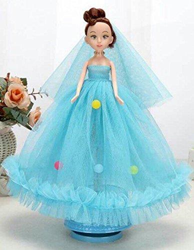 Linaking Boîte À Musique De Mariée Rotation De Poupée Robe De Mariée Pour Les Filles Jouets (bleu) Pour Le Cadeau