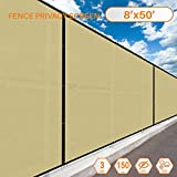 50'x8' Beige Tan with White Strip Commercial Privacy Fence Screen Custom Available 3 Years Warranty 130 GSM 88% Blockage