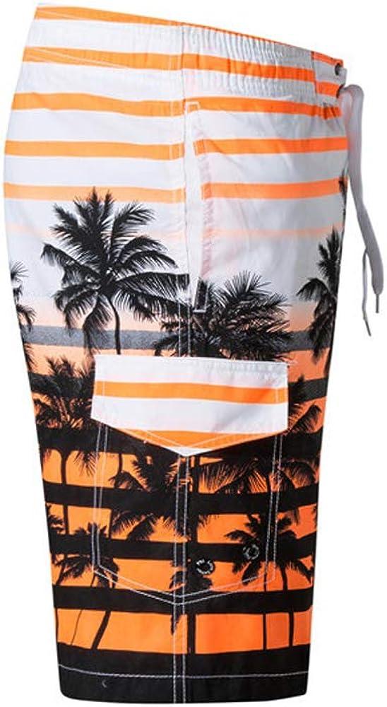Mens Summer Quick Dry Swim Trunks Swimwear Board Short Printed with Mesh Lining