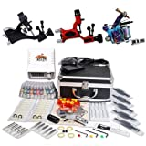 Professional Complete Tattoo Kit 3 Top Rotary Machine Gun 40 Color Ink Needle Power Supply