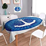 Liprinthome Water Resistant Tablecloth Nautical Theme With Paper Boat Sea Dolphins Underwater Sea Animals Great for Buffet Table, Parties, Holiday Dinner, Wedding & More/54W x 102L Inch