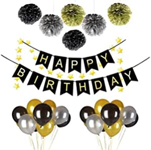 38pcs Birthday Party Latex balloons Decoration Happy Birthday Black Banner Gold Paper Pom Poms Party Supplies