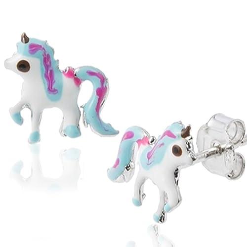 Orecchini Unicorno In Argento 925 Con Smalto Colorato Coppia Di