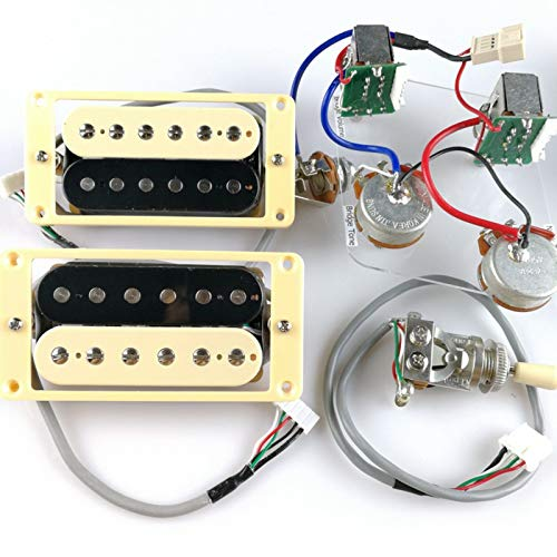 1 Set ProBucker Alnico Bridge&Neck Pickups with Pro Wiring Harness Pots&3 Way Switches for Epiphone/Gibson guitar (zebra(Cream&Black)) (Gibson Zebra Pickups)