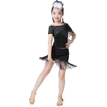 28e19d1746e14 Trajes de Vestir de Baile de Tango Niños pequeños para niños Vestido Latino  Fiesta asimétrica Ropa de Baile Trajes de Baile (Color   Negro
