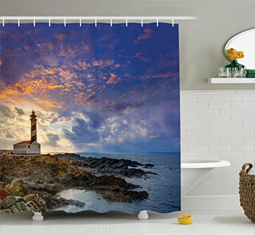 Ambesonne Lighthouse Decor Collection, Cap de Favaritx Sunset Lighthouse Cape in Mahon at Balearic Islands of Spain Coast Image, Polyester Fabric Bathroom Shower Curtain Set with Hooks, Blue by Ambesonne