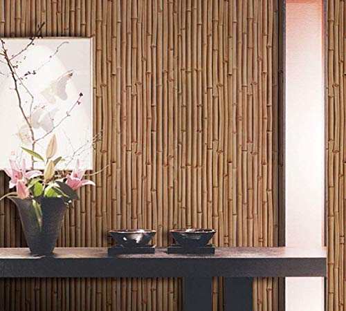 - Wallpaper, Hotel Restaurant Bamboo Grain PVC Engineering Wallcoverings Classic 3D Concave Convex Three-Dimensional Simulation Wall Paper (Color : 1)