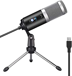 USB Microphone, Ksera Condenser Microphone for Computer/Laptop,Plug & Play with Tripod Stand Home Studio Recording Microphone for Online Chat,Streaming Twitch,Voice Overs,Podcasting for YouTube
