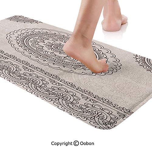 Henna Rug Runner,Floral Tattoo Design Inspirations from Asian Civilizations Doodle Style Soft Colored Decorative,Plush Door Carpet Floor Kitchen Decor Mat with Non Slip Backing,71 X 24 Inches,Brown Cr -