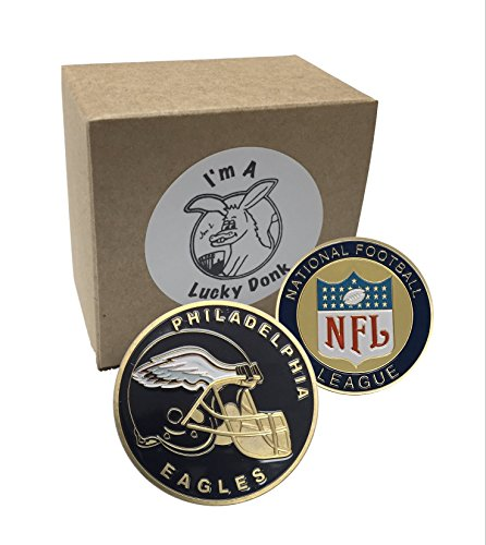 American Football Team Challenge Coin 2018 NFL Champions Philadelphia Eagles Poker Card Marker Collectible plus display case, and a Free Sticker by Lucky Donk (Football Coin)