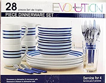 Evolution Todayu0027s Home 4 Place Dinnerware Set- 28 Pieces - Blue Striped by Totally Today  sc 1 st  Amazon.ca & Evolution Todayu0027s Home 4 Place Dinnerware Set- 28 Pieces - Blue ...