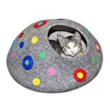 Cat Bed Relax Station Cave and House - COOL WOOL All Natural Eco Friendly Handmade Colorful Felt Cat Beds