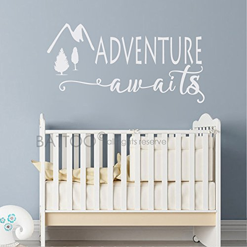 BATTOO Adventure Awaits Wall Decal Stickers   Adventure Quotes Travel Theme  Wall Decor   Wanderlust Wall Decal   Mountain Wall Decal Bedroom Decor(white,  ...