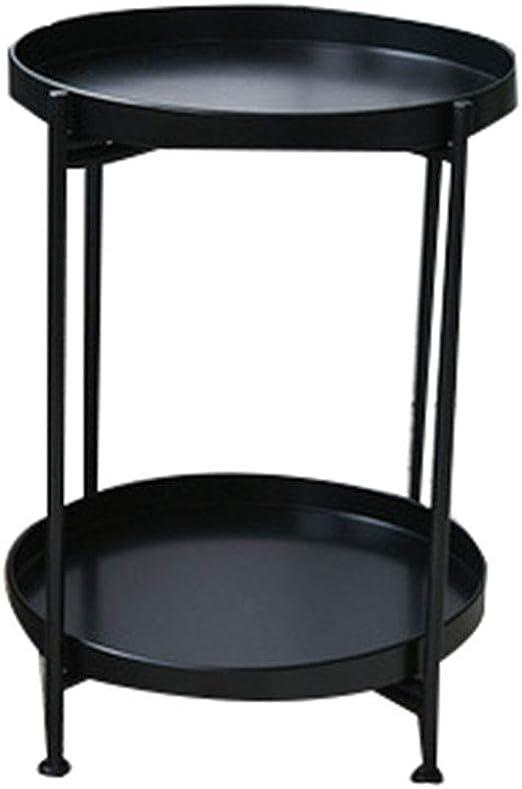 YYQXLZ Metal Simple Redondo Mesas auxiliares Doble Capa Sala de ...