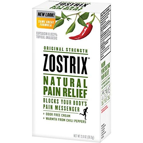 (Zostrix Original Strength Pain Relief Topical Analgesic Cream, Capsaicin Pain Reliever, Odor Free, 2 Ounce Tube)