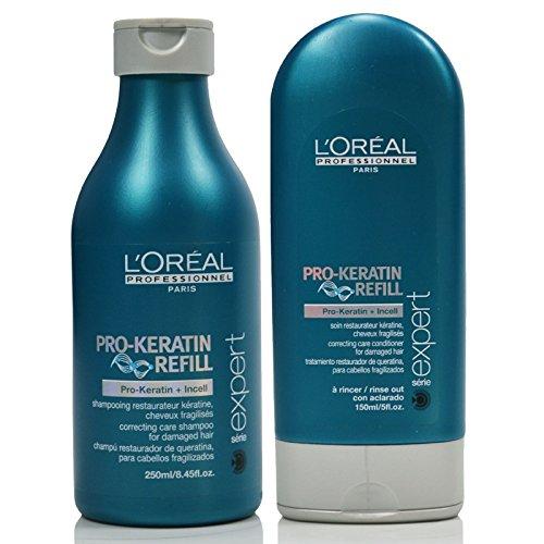 (L'oreal Pro-Keratin Refill Shampoo 8.45oz and Conditioner 5oz Set)
