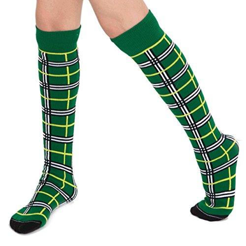 Chrissy's Socks Women's Plaid Knee High Socks 7-11 Green / Yellow / Black