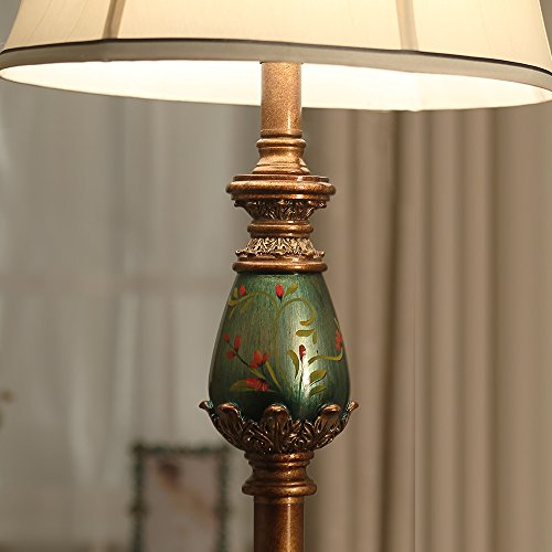 LampRight Classic European Country Style Hand Painted Retro Floor Lamp 64 inch - Traditional Elegant Delicate Resin Base, Unique Artistic Hand Painted Body and Original Fashion Fabric Lampshade by Lamp Right (Image #6)