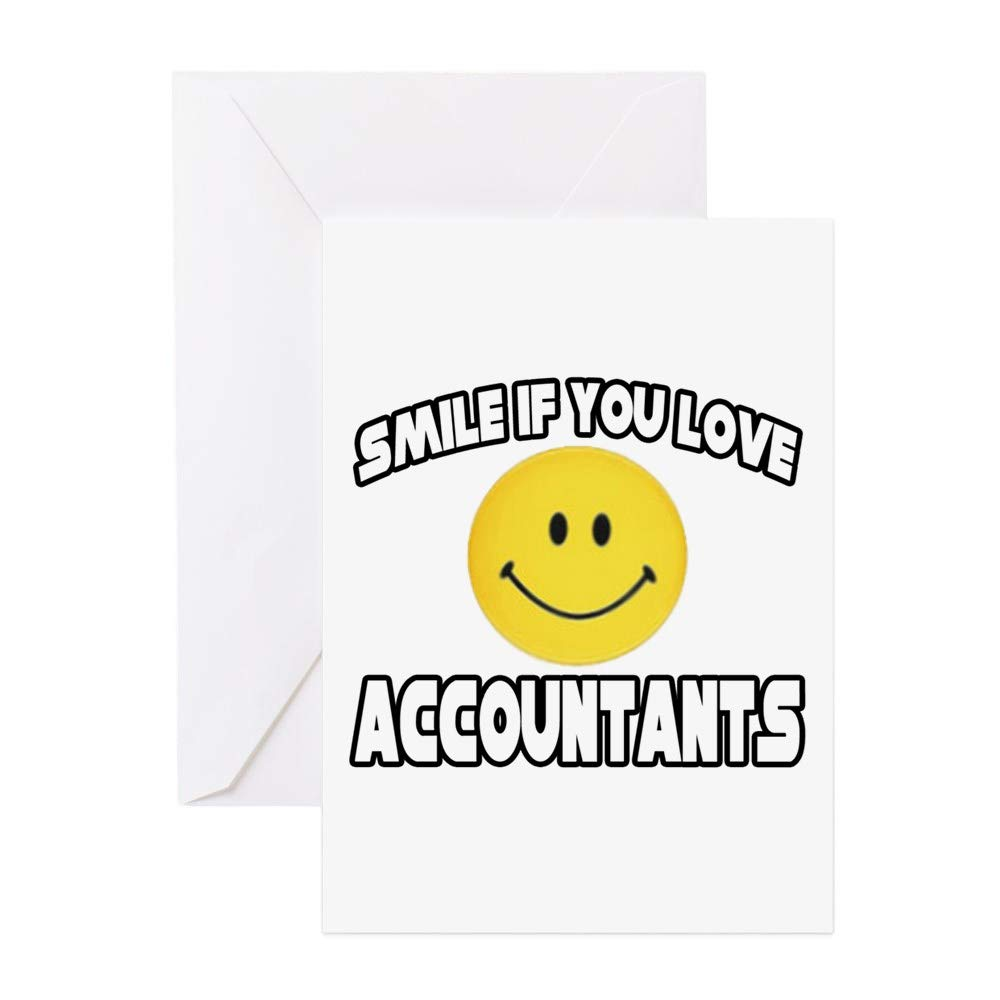 CafePress Smile.Love Accountants Greeting Cards (Pk Of 1 Greeting Card (10-pack), Note Card with Blank Inside, Birthday Card Glossy
