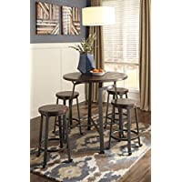 Challemy Rustic Brown Round Counter Table w/ 4 Metal Wood Stools