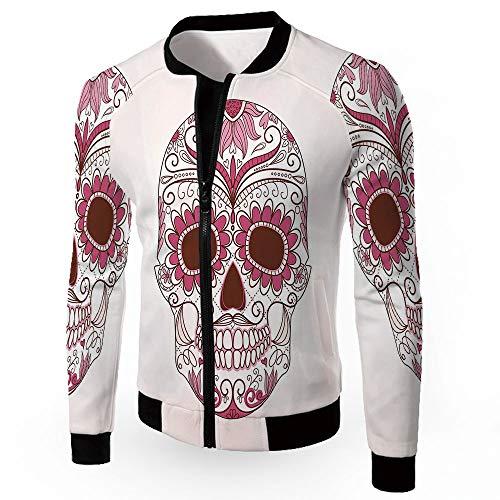 Fashion Jackets,Sugar Skull Decor,Men's Lightweight Zip-up Windproof Windbreaker