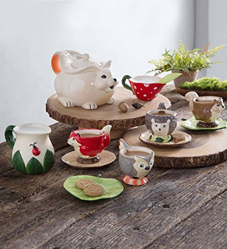 Children's Food Safe Ceramic Woodland Friends 12 Piece Tea Set