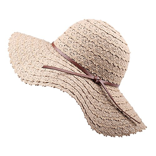 (FURTALK Summer Beach Sun Hats for Women Foldable Floppy Lace Cotton Wide Brim Hat Caps)