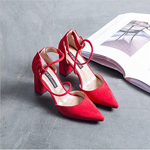 Zapatos Tacón Rojo Vendas Elegantes Las De De Verano Solo Zapatos Chicas Zapatos Y Hollow ZHANGJIA Zapatos gules De Punta Mujeres Alto Los Tacones De Grises Eq4HvxzRwF