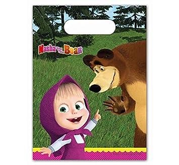 mascha & el oso 6 Bolsas de regalo bolsas de fiesta cumpleaños infantiles