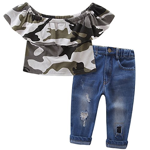 OUTGLE Baby Girls Kids Off Shoulder Lotus Leaf Camouflage Top + Holes Jeans 2pcs Clothing Set Outfits (2-3 Years)