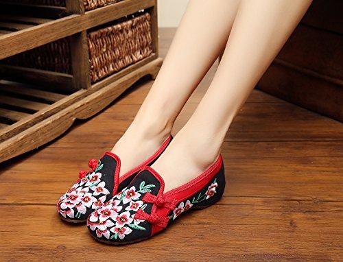 WXT Zapatos bordados, lenguado de tendón, estilo étnico, hembrashoes, moda, cómodos zapatos de lona Black