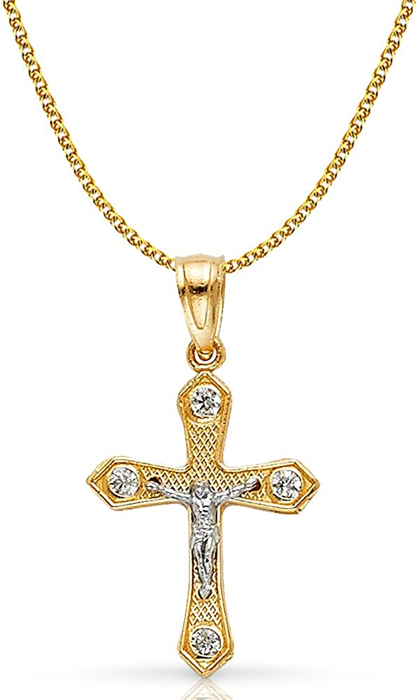 14K Two Tone Gold Jesus Crucifix Cross Pendant with 1.2mm Flat Open Wheat Chain Chain Necklace