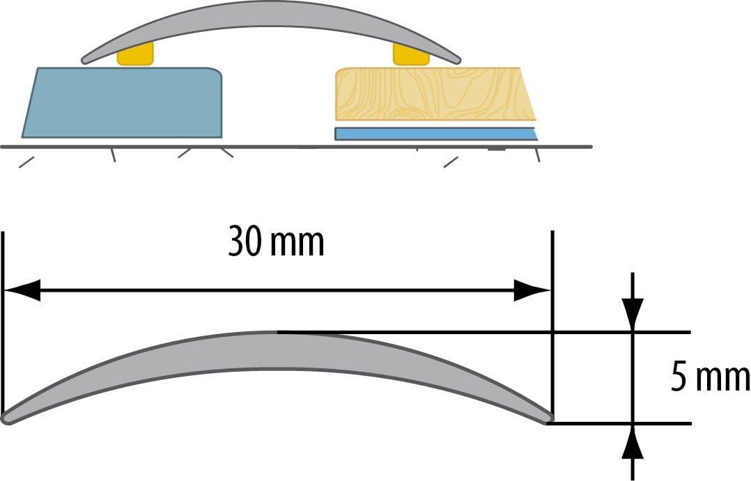CEZAR W de al de lpo30/K de DJ de 090/Protecci/ón 30/mm, roble claro autoadhesivo,///übergangsschiene//Perfil de transici/ón de laminado de madera y tacos