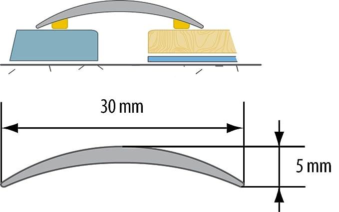 CEZAR W-AL-LW30-T-090 Schutzleiste///Übergangsschiene///Übergangsprofil mit Laminat//Holzdekor Teak mit D/übeln schmal 30mm