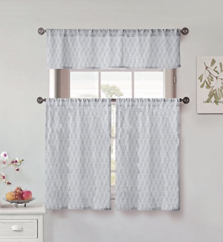 Vera Neumann Florina Natural Linen Textured Kitchen Tier & Valance Set   Small Window Curtain for Cafe, Bath, Laundry, Bedroom, Grey