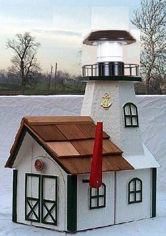 Lighthouse Solar Post Light (Lighthouse Mailbox White & Black)