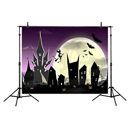 Funnytree 7x5ft Polyester Halloween Theme Photography Backdrop Background Castle Full-Moon Night Silhouette Cartoon Photo Studio Prop -
