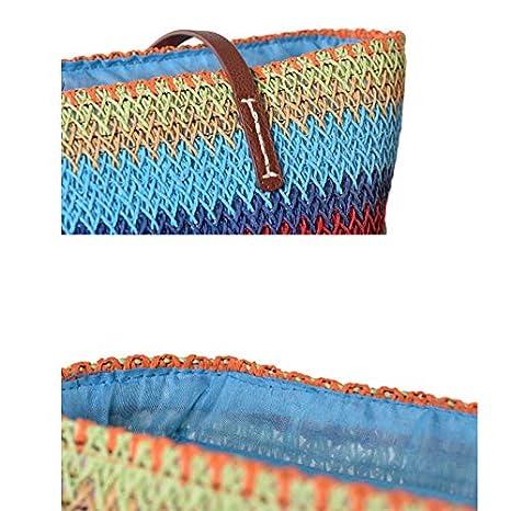 DaoRier Strandtasche Bunt Handweberei Handtasche Damen Sommer Einkaufstasche Reisetasche