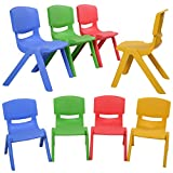 GHP 8-Pcs 14''LX13''WX20''H Lightweight Portable and Stackable Kids Plastic Chairs