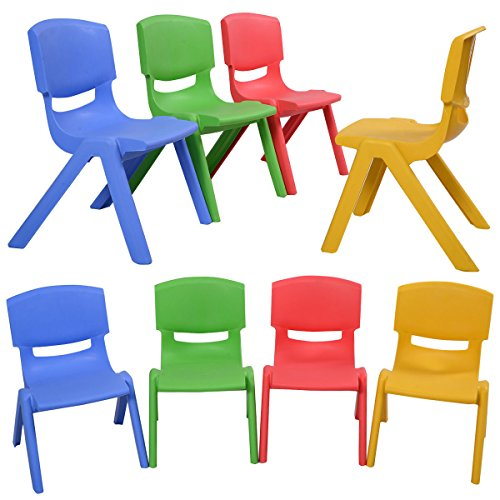 GHP 8-Pcs 14''LX13''WX20''H Lightweight Portable and Stackable Kids Plastic Chairs by Globe House Products