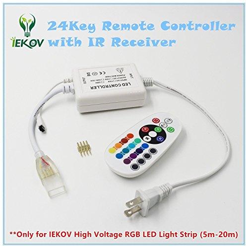 IEKOV&Trade; Max 750W, AC 110V 120V to DC 110V Power Supply Adapter with IR Receiver + 24 Keys Remote Control only High Voltage RGB LED Light Strip (RGB,5m-20m)